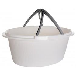 Košara ovalna z ročaji bela