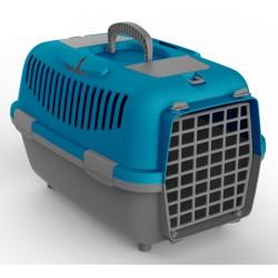 Transporter NOMAD 2 s plastičnimi vrati za mačke in pse moder