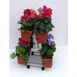 Stojalo na kolesih za 4 korita za rože 40cm